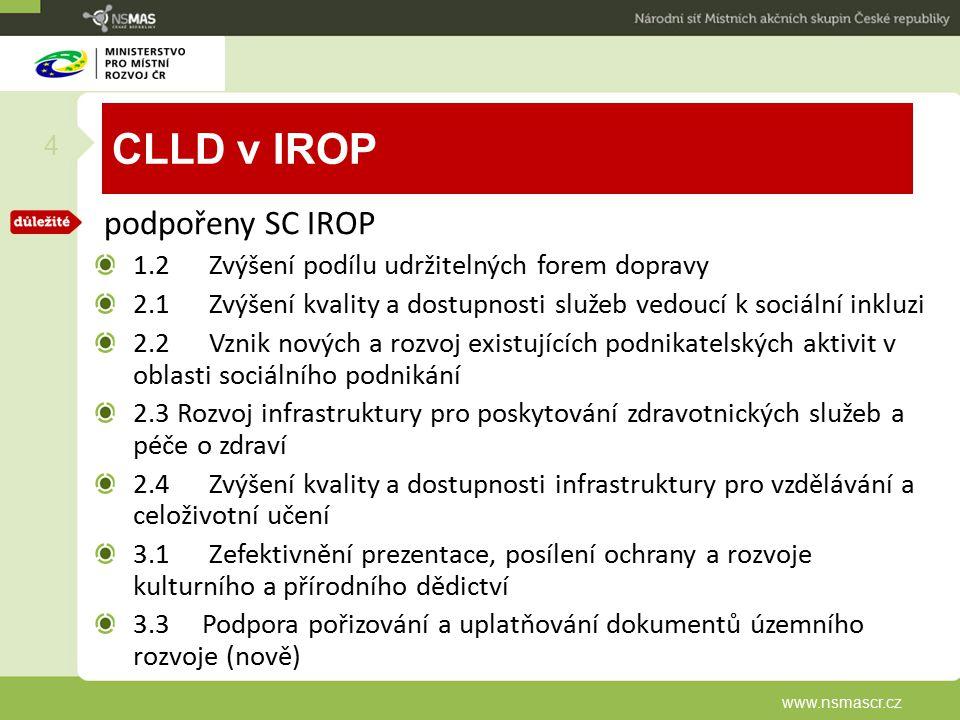 CLLD v IROP podpořeny SC IROP 1.2 Zvýšení podílu udržitelných forem dopravy 2.1 Zvýšení kvality a dostupnosti služeb vedoucí k sociální inkluzi 2.2 Vz