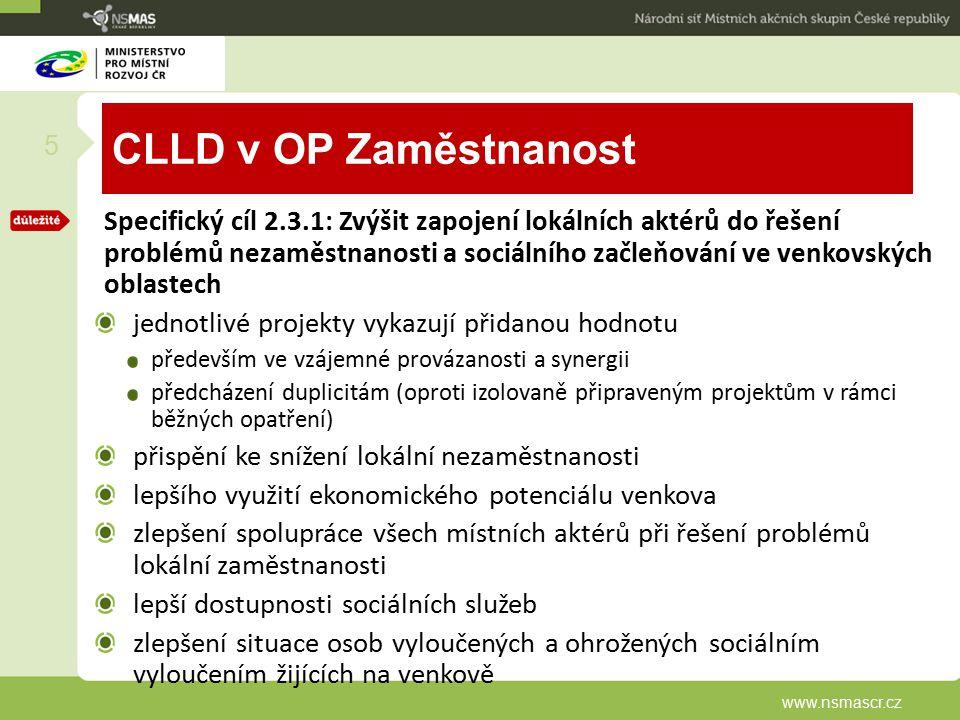 CLLD v OP Zaměstnanost Specifický cíl 2.3.1: Zvýšit zapojení lokálních aktérů do řešení problémů nezaměstnanosti a sociálního začleňování ve venkovský