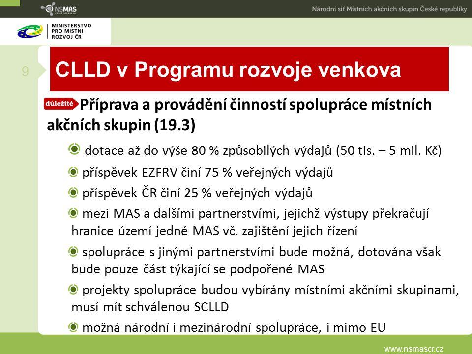 CLLD v Programu rozvoje venkova Příprava a provádění činností spolupráce místních akčních skupin (19.3) dotace až do výše 80 % způsobilých výdajů (50