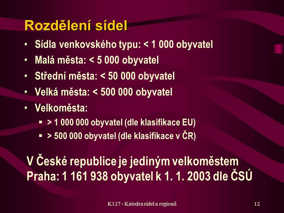 K127 - Katedra sídel a regionů11 c) Struktura sídel v ČR Obec – definována zákonem o obcích Struktura sídel v ČR je hustá a pravidelná Průměrná vzdálenost sídel je 3,5 km Máme velký počet malých sídel