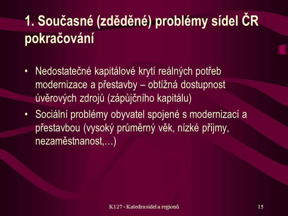 K127 - Katedra sídel a regionů14 d) Hlavní současné a budoucí problémy rozvoje sídel v ČR Zastaralost stavebních fondů a nedostatečné tempo jejich obn
