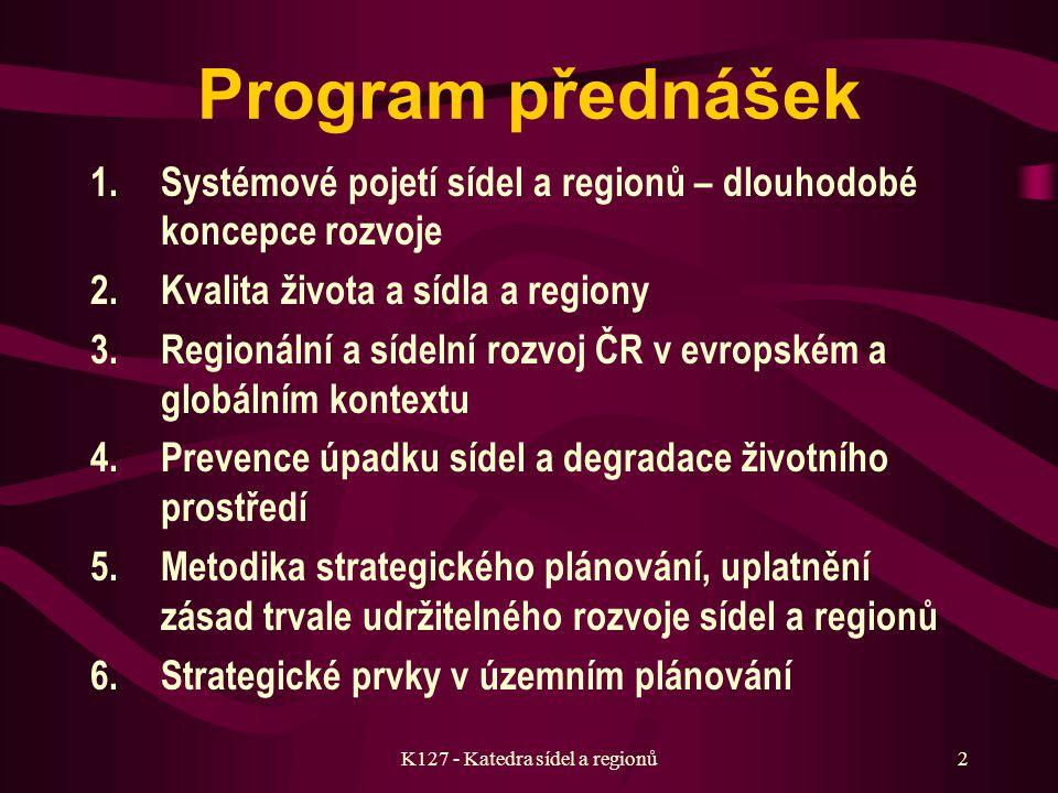 K127 - Katedra sídel a regionů Strategie rozvoje sídel a regionů kód předmětu: K127URSR Ivan Přednášející: doc. Ing. arch. Ivan Horký, DrSc.