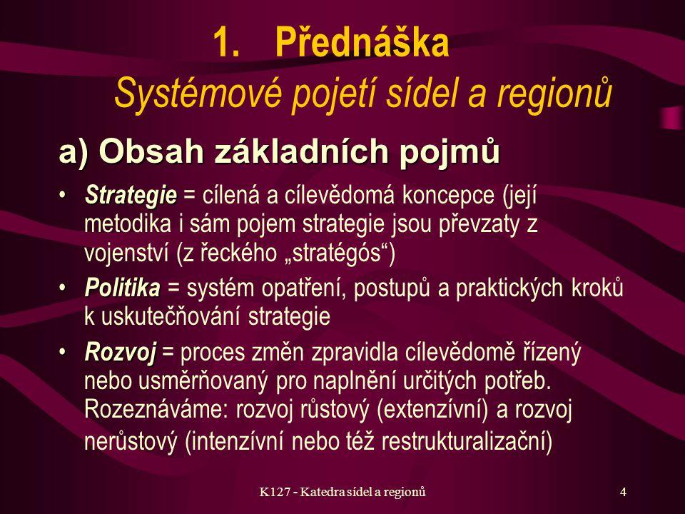 K127 - Katedra sídel a regionů3 Program přednášek 7.Dlouhodobé koncepce a komunální inženýrství 8.Urbanistická ekonomie a efektivnost sídelních systémů 9.Regionalistika, regionální rozvoj a regionální politika 10.Stabilita a proměnnost území 11.Obnova sídel a krajiny, nerůstové formy rozvoje 12.Strategické plánování sídel a regionů, realizace strategických cílů 13.Diskuse o obsahu a formě předmětu, předzkouškový seminář