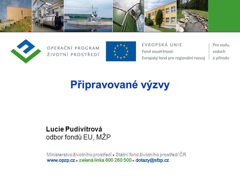 Ministerstvo životního prostředí Státní fond životního prostředí ČR www.opzp.cz zelená linka 800 260 500 dotazy@sfzp.cz Připravované výzvy Lucie Pudiv
