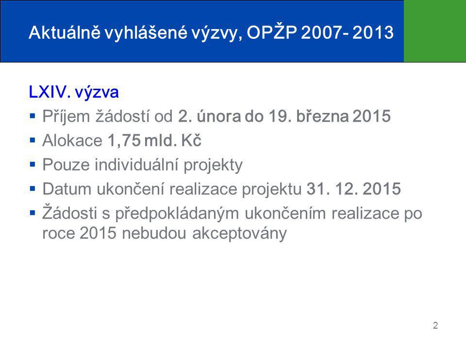Aktuálně vyhlášené výzvy, OPŽP 2007- 2013 LXIV. výzva  Příjem žádostí od 2. února do 19. března 2015  Alokace 1,75 mld. Kč  Pouze individuální proj