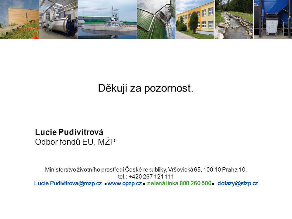 Děkuji za pozornost. Lucie Pudivítrová Odbor fondů EU, MŽP Ministerstvo životního prostředí České republiky, Vršovická 65, 100 10 Praha 10, tel.: +420