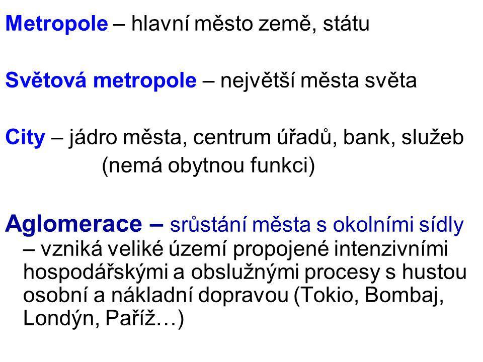 Metropole – hlavní město země, státu Světová metropole – největší města světa City – jádro města, centrum úřadů, bank, služeb (nemá obytnou funkci) Ag
