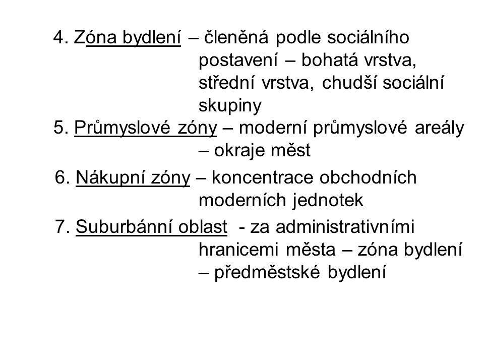 4. Zóna bydlení – členěná podle sociálního postavení – bohatá vrstva, střední vrstva, chudší sociální skupiny 5. Průmyslové zóny – moderní průmyslové