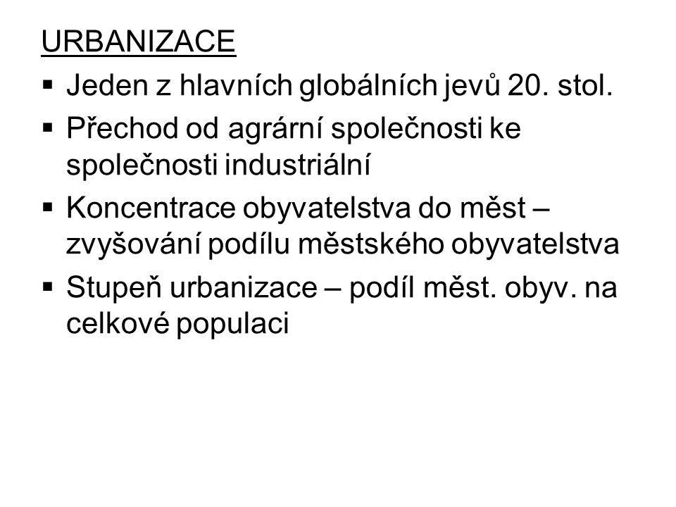 URBANIZACE  Jeden z hlavních globálních jevů 20. stol.  Přechod od agrární společnosti ke společnosti industriální  Koncentrace obyvatelstva do měs