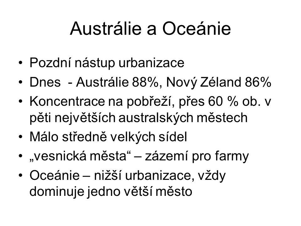 Austrálie a Oceánie Pozdní nástup urbanizace Dnes - Austrálie 88%, Nový Zéland 86% Koncentrace na pobřeží, přes 60 % ob. v pěti největších australskýc