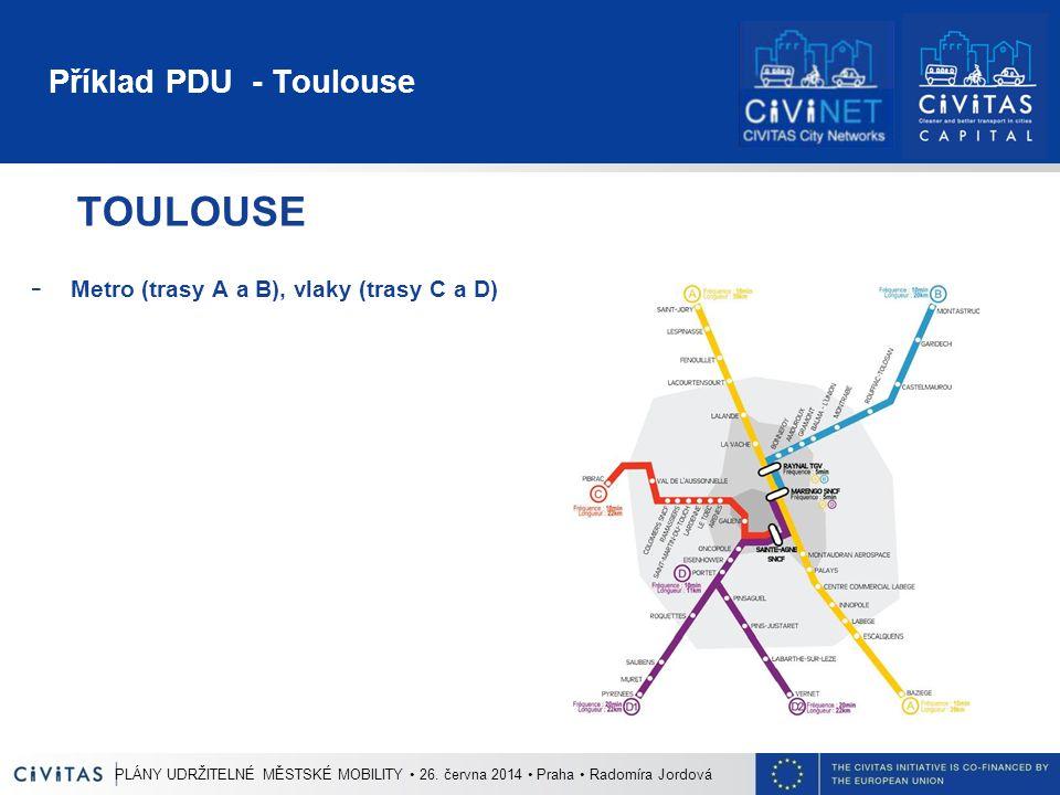 Příklad PDU - Toulouse TOULOUSE - Metro (trasy A a B), vlaky (trasy C a D) PLÁNY UDRŽITELNÉ MĚSTSKÉ MOBILITY 26. června 2014 Praha Radomíra Jordová