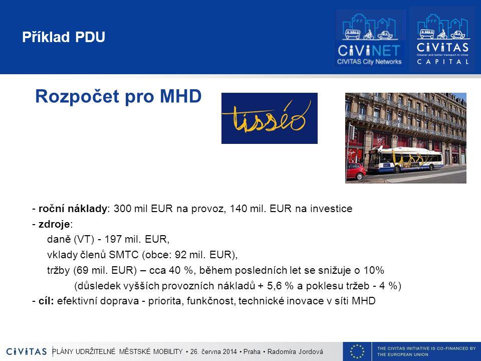 Příklad PDU Rozpočet pro MHD - roční náklady: 300 mil EUR na provoz, 140 mil. EUR na investice - zdroje: daně (VT) - 197 mil. EUR, vklady členů SMTC (