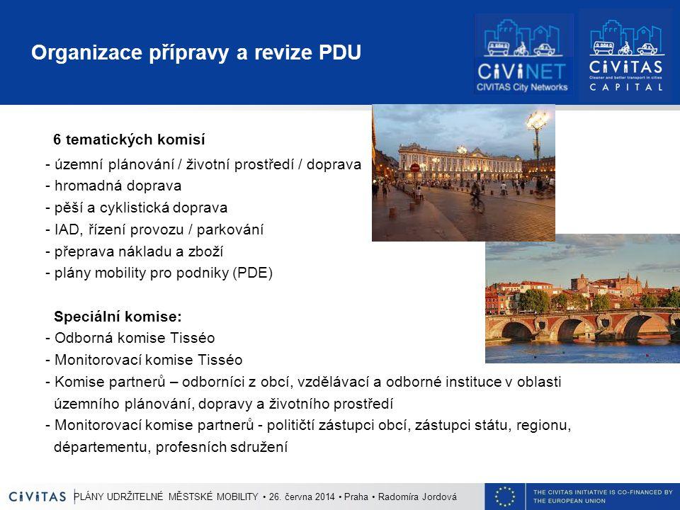 Organizace přípravy a revize PDU 6 tematických komisí - územní plánování / životní prostředí / doprava - hromadná doprava - pěší a cyklistická doprava - IAD, řízení provozu / parkování - přeprava nákladu a zboží - plány mobility pro podniky (PDE) Speciální komise: - Odborná komise Tisséo - Monitorovací komise Tisséo - Komise partnerů – odborníci z obcí, vzdělávací a odborné instituce v oblasti územního plánování, dopravy a životního prostředí - Monitorovací komise partnerů - političtí zástupci obcí, zástupci státu, regionu, départementu, profesních sdružení PLÁNY UDRŽITELNÉ MĚSTSKÉ MOBILITY 26.