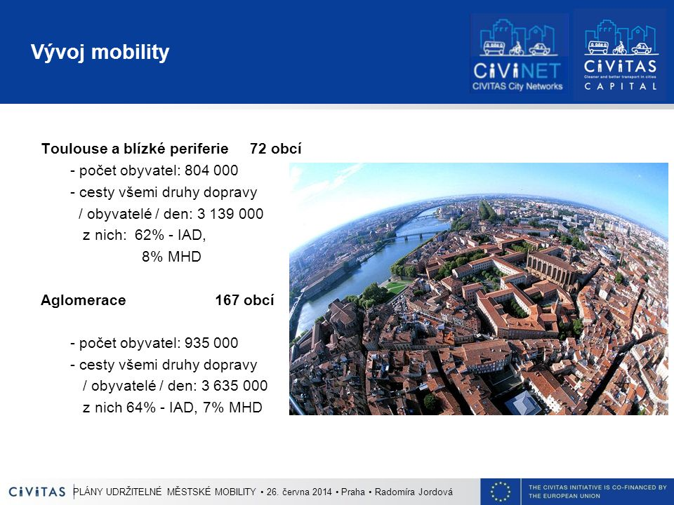Vývoj mobility Toulouse a blízké periferie 72 obcí - počet obyvatel: 804 000 - cesty všemi druhy dopravy / obyvatelé / den: 3 139 000 z nich: 62% - IAD, 8% MHD Aglomerace 167 obcí - počet obyvatel: 935 000 - cesty všemi druhy dopravy / obyvatelé / den: 3 635 000 z nich 64% - IAD, 7% MHD PLÁNY UDRŽITELNÉ MĚSTSKÉ MOBILITY 26.