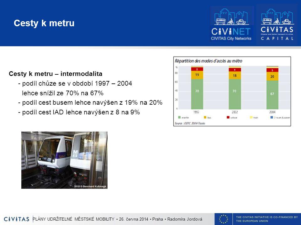 Cesty k metru Cesty k metru – intermodalita - podíl chůze se v období 1997 – 2004 lehce snížil ze 70% na 67% - podíl cest busem lehce navýšen z 19% na