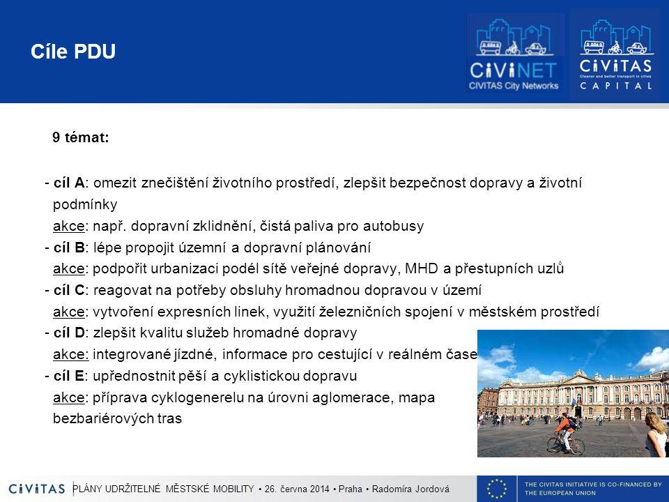 Cíle PDU 9 témat: - cíl A: omezit znečištění životního prostředí, zlepšit bezpečnost dopravy a životní podmínky akce: např. dopravní zklidnění, čistá