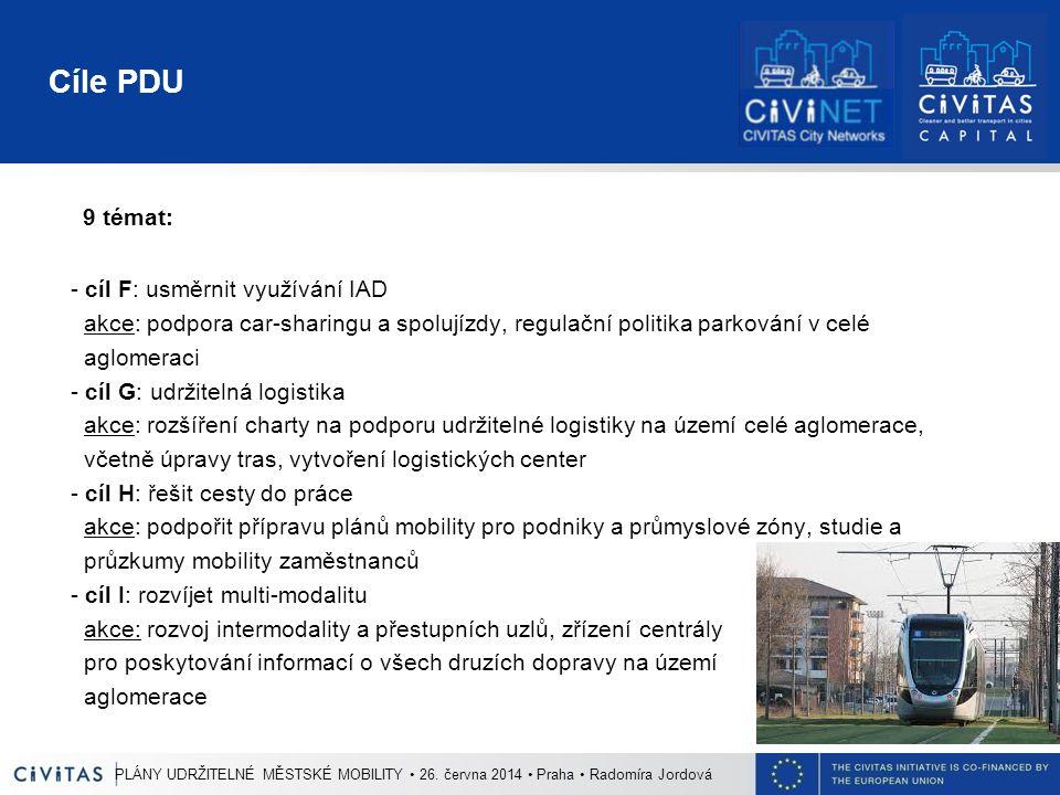 Cíle PDU 9 témat: - cíl F: usměrnit využívání IAD akce: podpora car-sharingu a spolujízdy, regulační politika parkování v celé aglomeraci - cíl G: udr