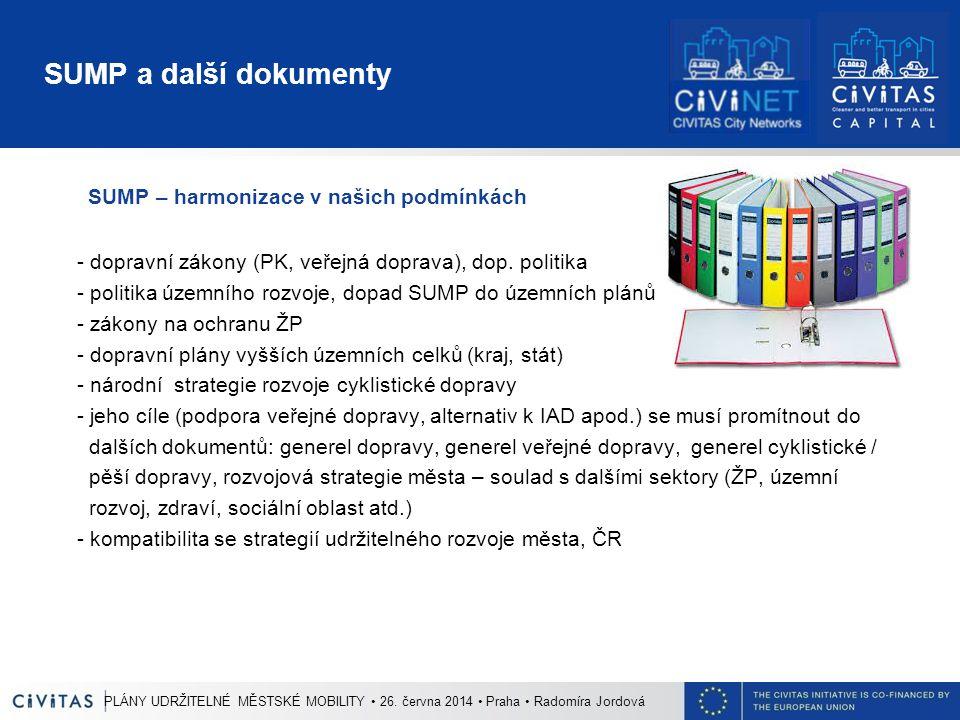 SUMP a další dokumenty SUMP – harmonizace v našich podmínkách - dopravní zákony (PK, veřejná doprava), dop. politika - politika územního rozvoje, dopa