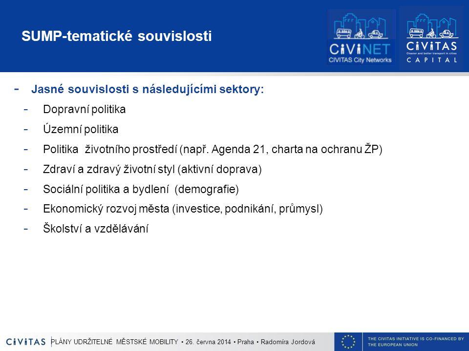 SUMP-tematické souvislosti - Jasné souvislosti s následujícími sektory: - Dopravní politika - Územní politika - Politika životního prostředí (např.