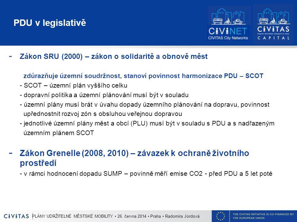 PDU v legislativě - Zákon SRU (2000) – zákon o solidaritě a obnově měst zdůrazňuje územní soudržnost, stanoví povinnost harmonizace PDU – SCOT - SCOT – územní plán vyššího celku - dopravní politika a územní plánování musí být v souladu - územní plány musí brát v úvahu dopady územního plánování na dopravu, povinnost upřednostnit rozvoj zón s obsluhou veřejnou dopravou - jednotlivé územní plány měst a obcí (PLU) musí být v souladu s PDU a s nadřazeným územním plánem SCOT - Zákon Grenelle (2008, 2010) – závazek k ochraně životního prostředí - v rámci hodnocení dopadu SUMP – povinně měří emise CO2 - před PDU a 5 let poté PLÁNY UDRŽITELNÉ MĚSTSKÉ MOBILITY 26.
