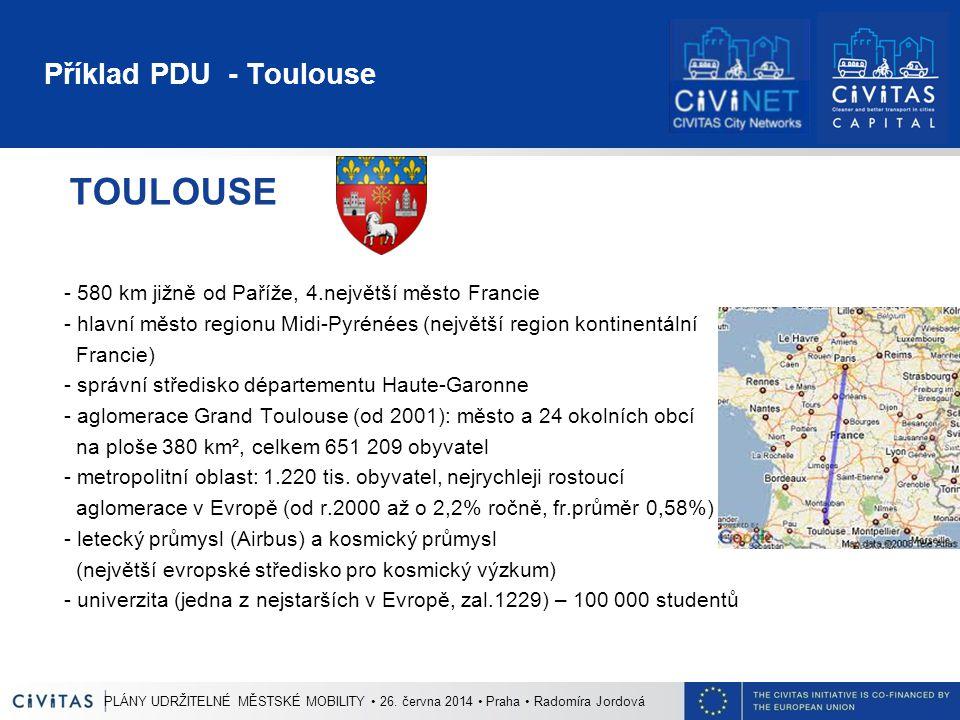 Příklad PDU - Toulouse TOULOUSE - 580 km jižně od Paříže, 4.největší město Francie - hlavní město regionu Midi-Pyrénées (největší region kontinentální Francie) - správní středisko départementu Haute-Garonne - aglomerace Grand Toulouse (od 2001): město a 24 okolních obcí na ploše 380 km², celkem 651 209 obyvatel - metropolitní oblast: 1.220 tis.