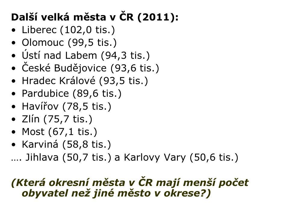 Další velká města v ČR (2011): Liberec (102,0 tis.) Olomouc (99,5 tis.) Ústí nad Labem (94,3 tis.) České Budějovice (93,6 tis.) Hradec Králové (93,5 tis.) Pardubice (89,6 tis.) Havířov (78,5 tis.) Zlín (75,7 tis.) Most (67,1 tis.) Karviná (58,8 tis.) ….