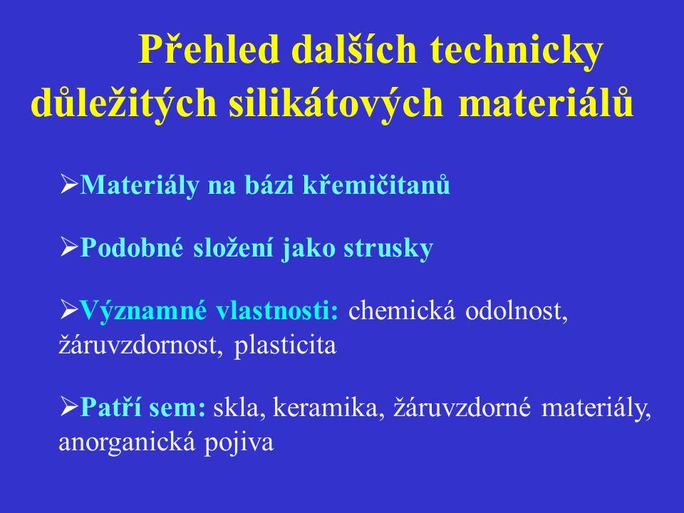 Přehled dalších technicky důležitých silikátových materiálů  Materiály na bázi křemičitanů  Podobné složení jako strusky  Významné vlastnosti: chemická odolnost, žáruvzdornost, plasticita  Patří sem: skla, keramika, žáruvzdorné materiály, anorganická pojiva