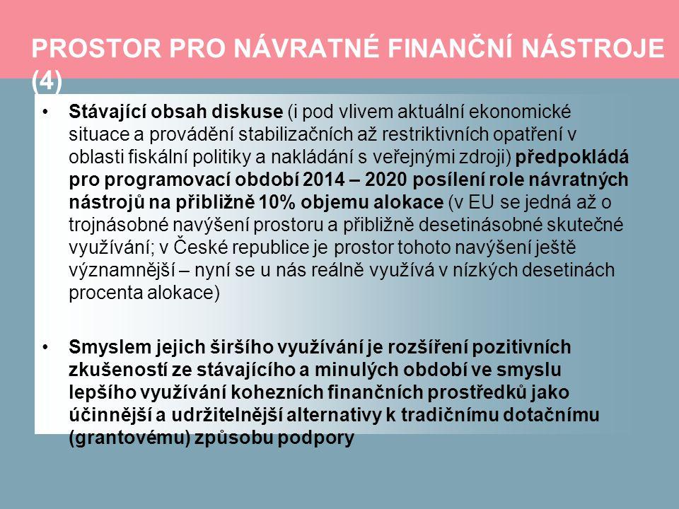 PROSTOR PRO NÁVRATNÉ FINANČNÍ NÁSTROJE (4) Stávající obsah diskuse (i pod vlivem aktuální ekonomické situace a provádění stabilizačních až restriktivních opatření v oblasti fiskální politiky a nakládání s veřejnými zdroji) předpokládá pro programovací období 2014 – 2020 posílení role návratných nástrojů na přibližně 10% objemu alokace (v EU se jedná až o trojnásobné navýšení prostoru a přibližně desetinásobné skutečné využívání; v České republice je prostor tohoto navýšení ještě významnější – nyní se u nás reálně využívá v nízkých desetinách procenta alokace) Smyslem jejich širšího využívání je rozšíření pozitivních zkušeností ze stávajícího a minulých období ve smyslu lepšího využívání kohezních finančních prostředků jako účinnější a udržitelnější alternativy k tradičnímu dotačnímu (grantovému) způsobu podpory
