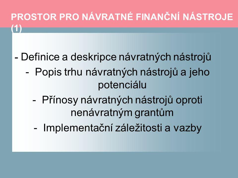PROSTOR PRO NÁVRATNÉ FINANČNÍ NÁSTROJE (1) - Definice a deskripce návratných nástrojů -Popis trhu návratných nástrojů a jeho potenciálu -Přínosy návratných nástrojů oproti nenávratným grantům -Implementační záležitosti a vazby