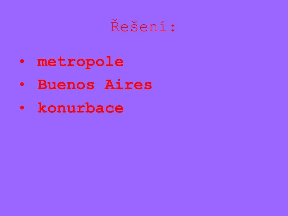 Řešení: metropole Buenos Aires konurbace