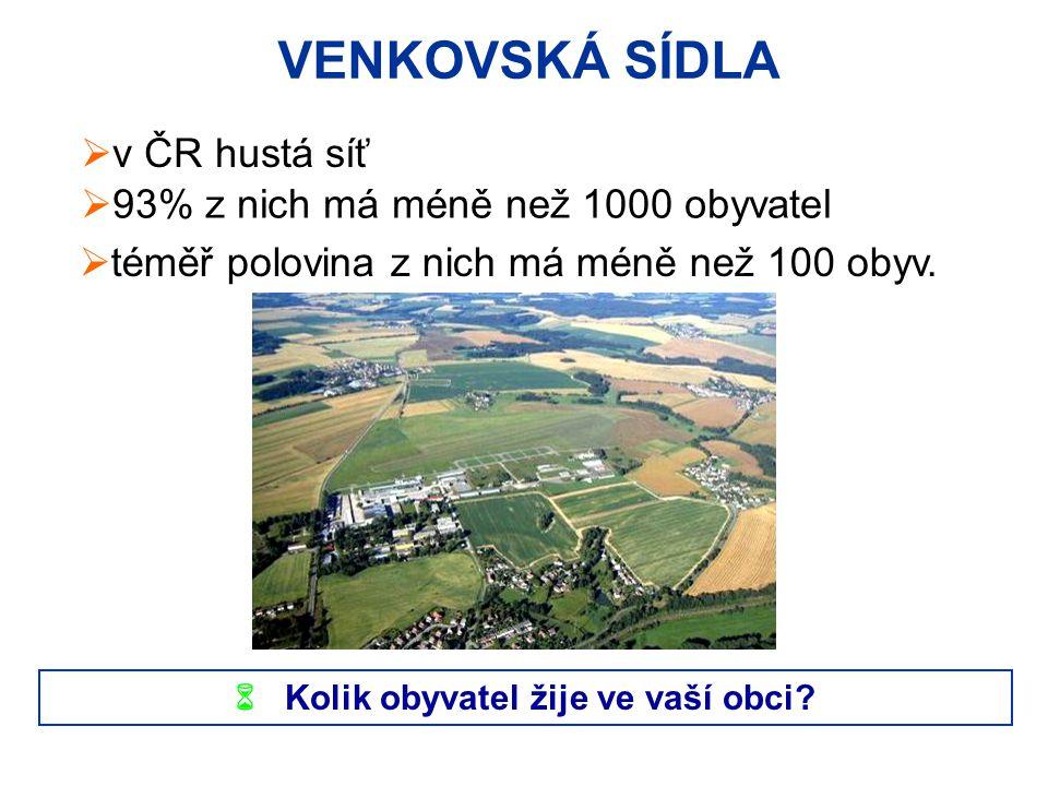 VENKOVSKÁ SÍDLA  v ČR hustá síť  93% z nich má méně než 1000 obyvatel  téměř polovina z nich má méně než 100 obyv.  Kolik obyvatel žije ve vaší ob
