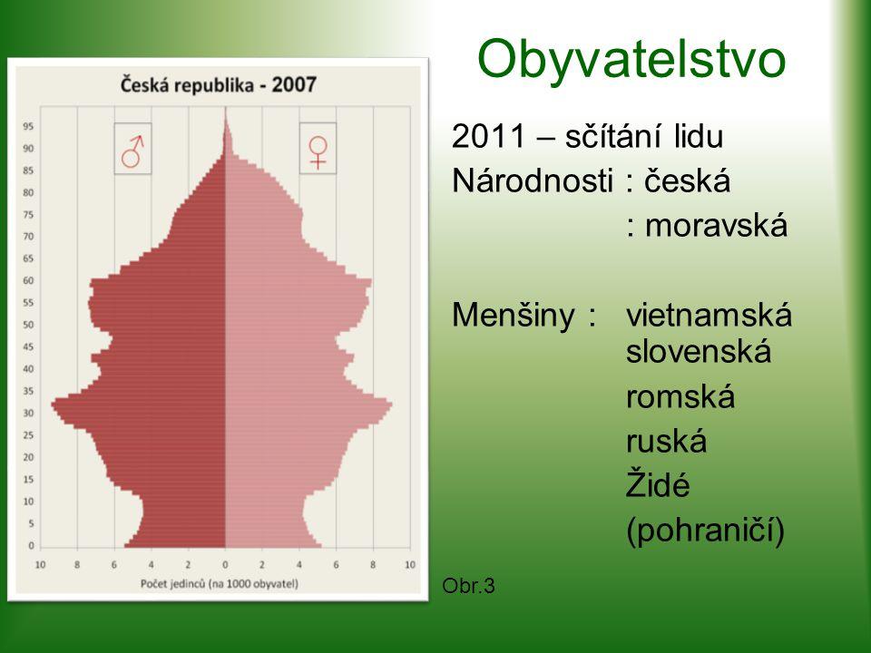 Obyvatelstvo 2011 – sčítání lidu Národnosti : česká : moravská Menšiny :vietnamská slovenská romská ruská Židé (pohraničí) Obr.3
