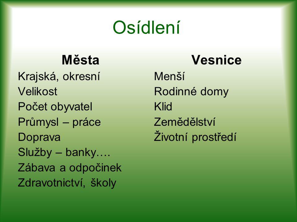 Osídlení Města Krajská, okresní Velikost Počet obyvatel Průmysl – práce Doprava Služby – banky….