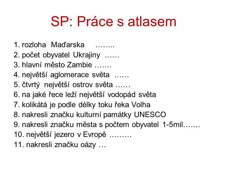 SP: Práce s atlasem 1. rozloha Maďarska …….. 2. počet obyvatel Ukrajiny …… 3. hlavní město Zambie ……. 4. největší aglomerace světa …… 5. čtvrtý největ