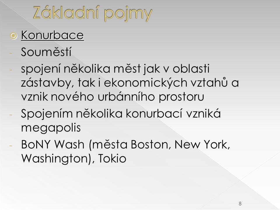  Konurbace - Souměstí - spojení několika měst jak v oblasti zástavby, tak i ekonomických vztahů a vznik nového urbánního prostoru - Spojením několika konurbací vzniká megapolis - BoNY Wash (města Boston, New York, Washington), Tokio 8