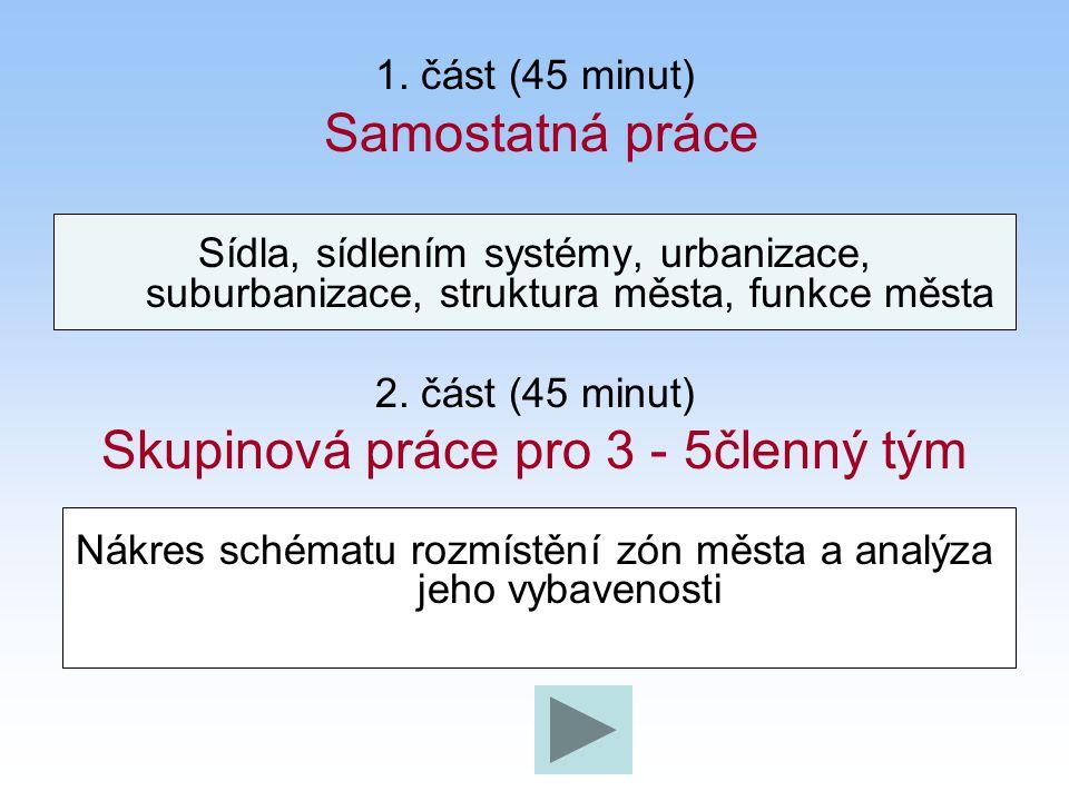 1. část (45 minut) Samostatná práce Sídla, sídlením systémy, urbanizace, suburbanizace, struktura města, funkce města 2. část (45 minut) Skupinová prá