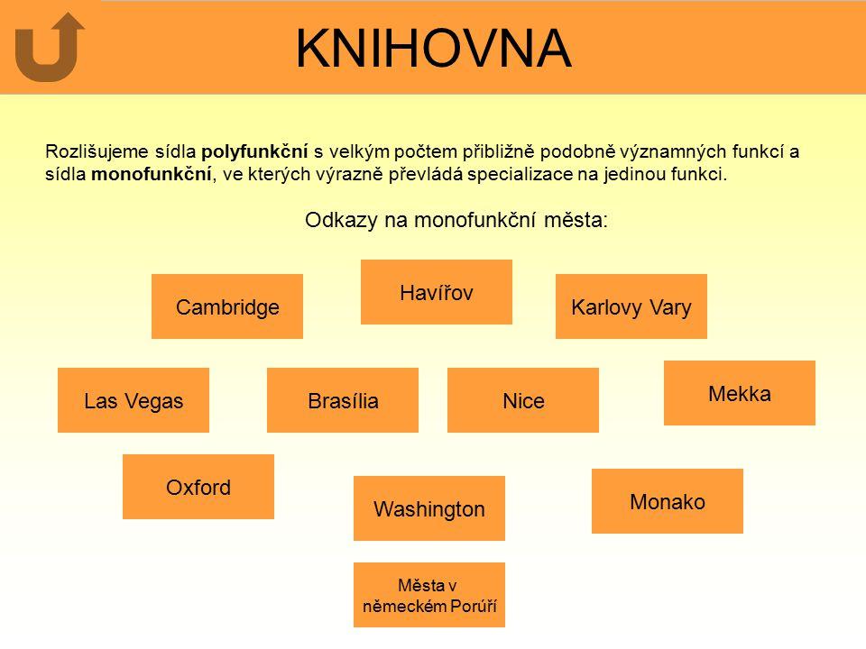 KNIHOVNA Rozlišujeme sídla polyfunkční s velkým počtem přibližně podobně významných funkcí a sídla monofunkční, ve kterých výrazně převládá specializa