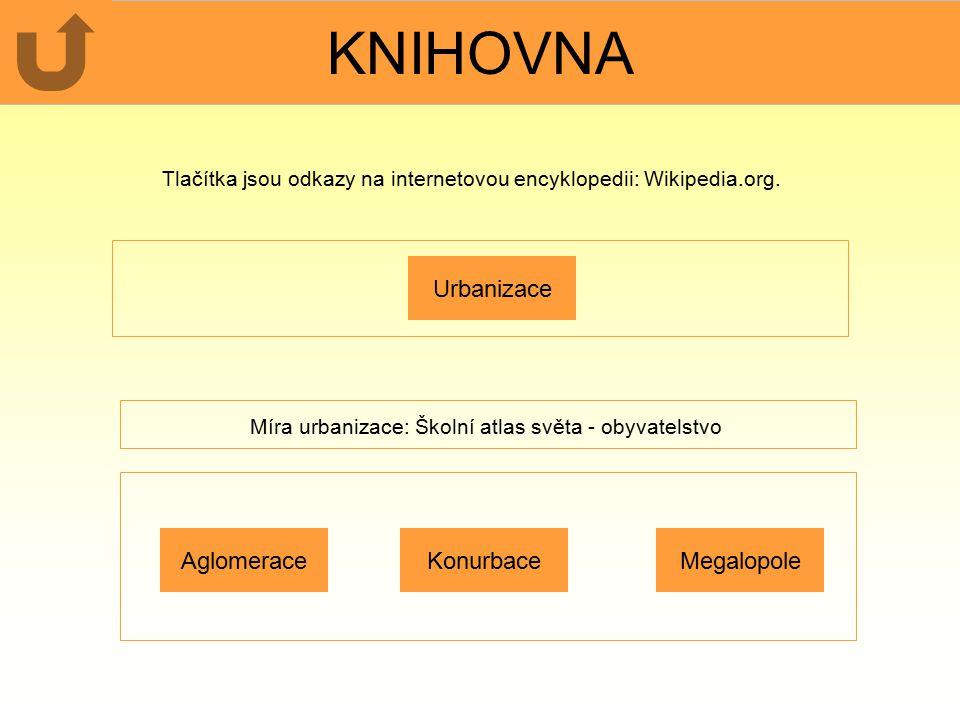 KNIHOVNA Urbanizace Tlačítka jsou odkazy na internetovou encyklopedii: Wikipedia.org.