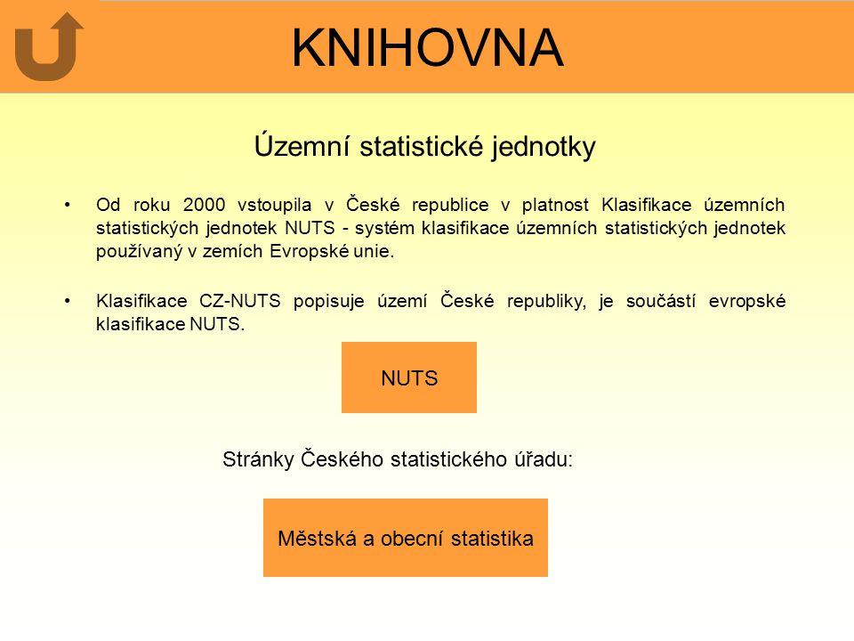 KNIHOVNA Územní statistické jednotky Od roku 2000 vstoupila v České republice v platnost Klasifikace územních statistických jednotek NUTS - systém klasifikace územních statistických jednotek používaný v zemích Evropské unie.