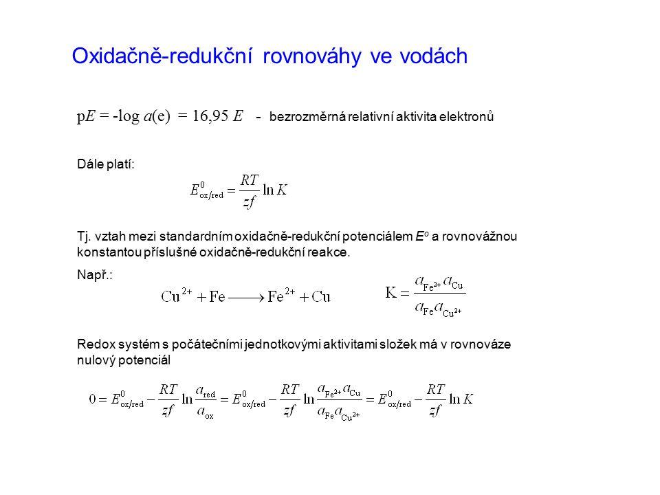 pE = -log a(e) = 16,95 E - bezrozměrná relativní aktivita elektronů Dále platí: Tj. vztah mezi standardním oxidačně-redukční potenciálem E o a rovnová