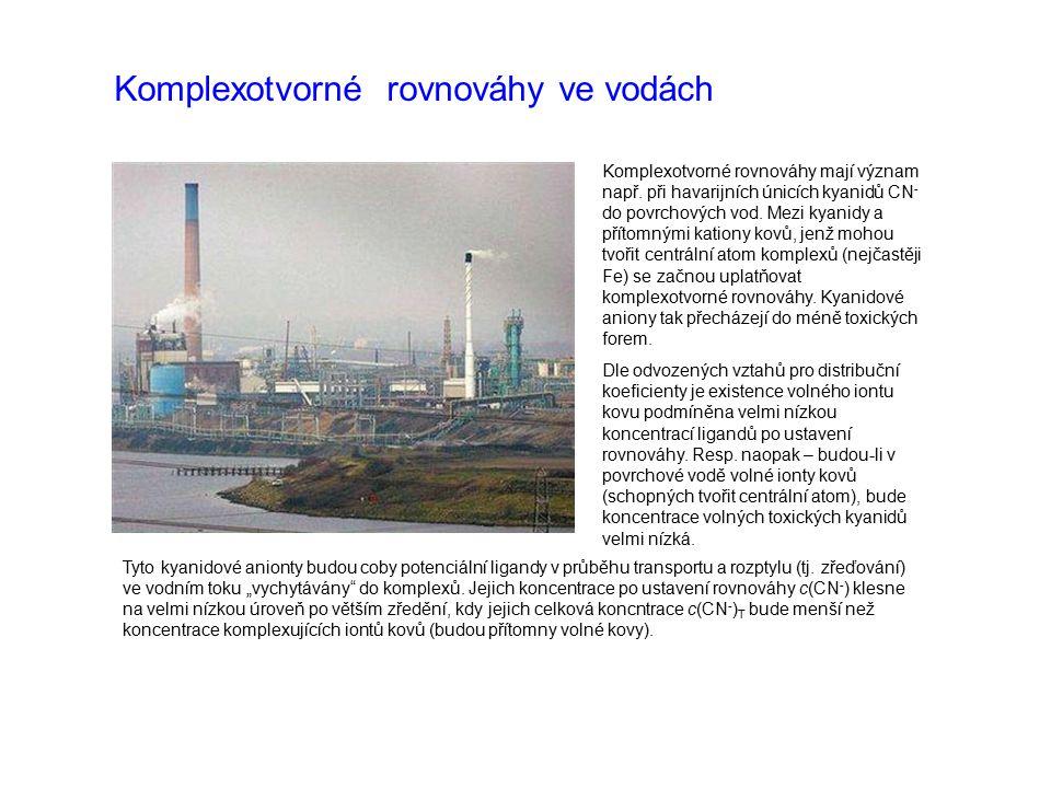 Komplexotvorné rovnováhy ve vodách Komplexotvorné rovnováhy mají význam např. při havarijních únicích kyanidů CN - do povrchových vod. Mezi kyanidy a