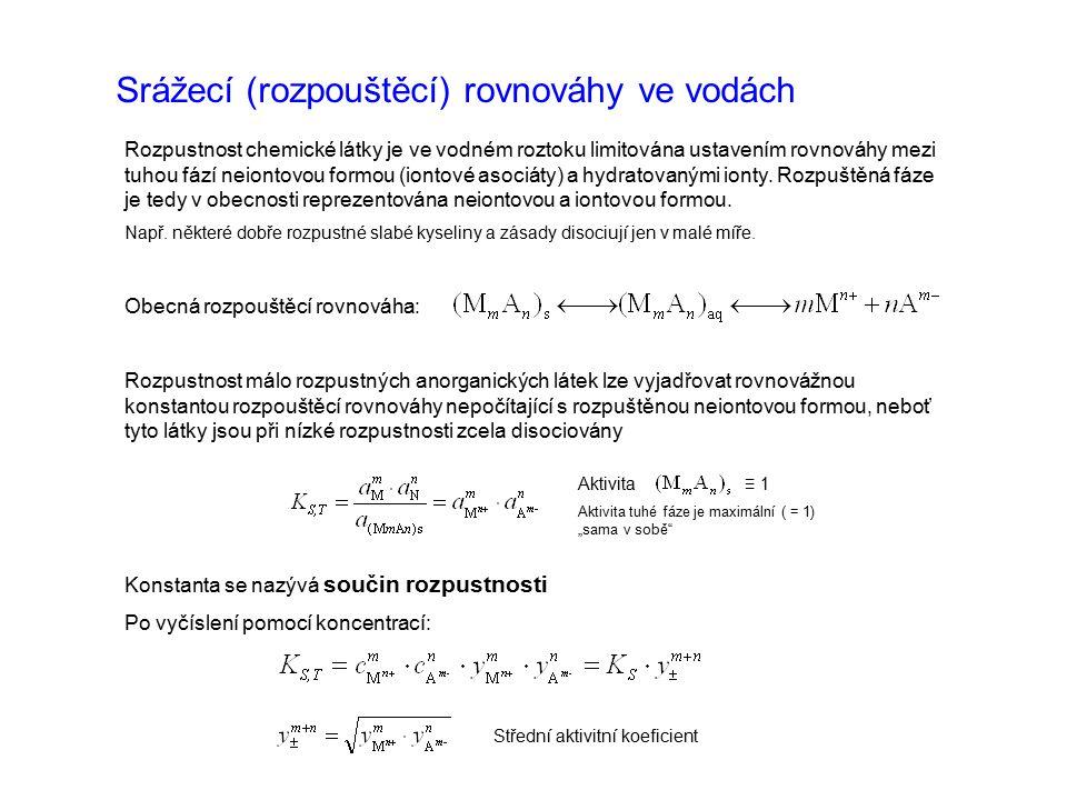 Srážecí (rozpouštěcí) rovnováhy ve vodách Rozpustnost chemické látky je ve vodném roztoku limitována ustavením rovnováhy mezi tuhou fází neiontovou formou (iontové asociáty) a hydratovanými ionty.