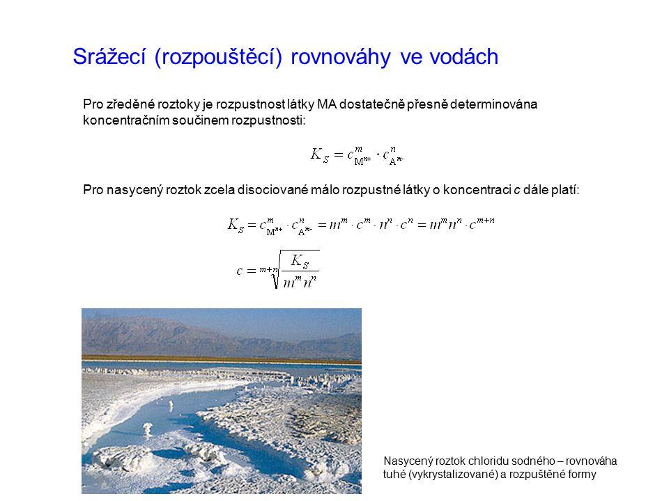 Srážecí (rozpouštěcí) rovnováhy ve vodách Pro zředěné roztoky je rozpustnost látky MA dostatečně přesně determinována koncentračním součinem rozpustnosti: Pro nasycený roztok zcela disociované málo rozpustné látky o koncentraci c dále platí: Nasycený roztok chloridu sodného – rovnováha tuhé (vykrystalizované) a rozpuštěné formy
