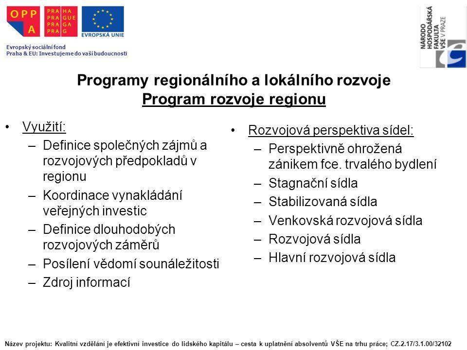 Programy regionálního a lokálního rozvoje Program rozvoje regionu Využití: –Definice společných zájmů a rozvojových předpokladů v regionu –Koordinace