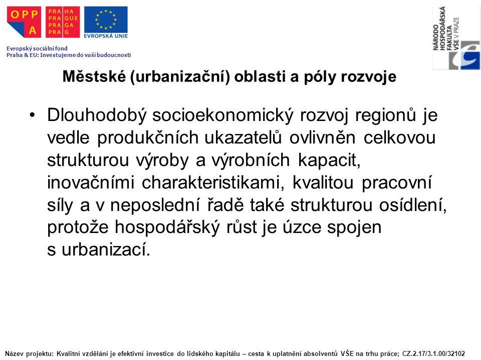 Městské (urbanizační) oblasti a póly rozvoje Dlouhodobý socioekonomický rozvoj regionů je vedle produkčních ukazatelů ovlivněn celkovou strukturou výr