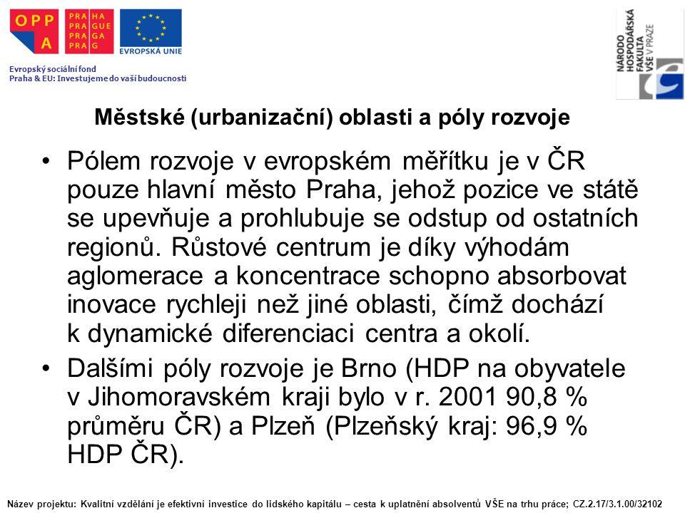 Městské (urbanizační) oblasti a póly rozvoje Pólem rozvoje v evropském měřítku je v ČR pouze hlavní město Praha, jehož pozice ve státě se upevňuje a p