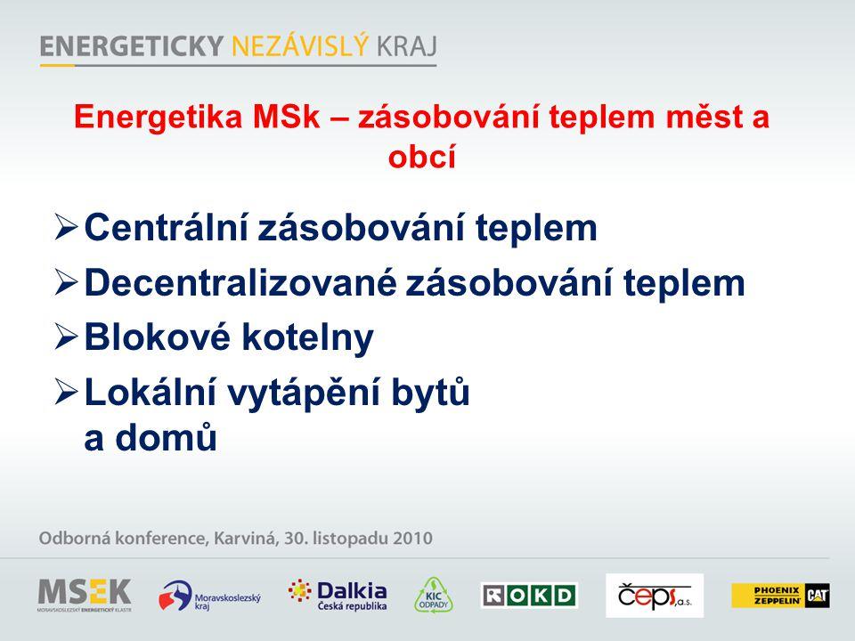 Energetika MSk – zásobování teplem měst a obcí  Centrální zásobování teplem  Decentralizované zásobování teplem  Blokové kotelny  Lokální vytápění bytů a domů