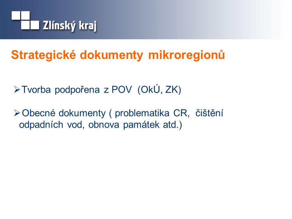 Strategické dokumenty mikroregionů  Tvorba podpořena z POV (OkÚ, ZK)  Obecné dokumenty ( problematika CR, čištění odpadních vod, obnova památek atd.)