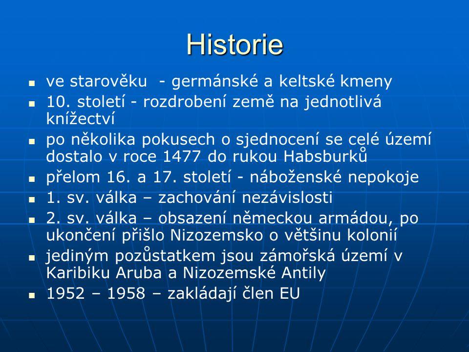 Historie ve starověku - germánské a keltské kmeny 10. století - rozdrobení země na jednotlivá knížectví po několika pokusech o sjednocení se celé územ