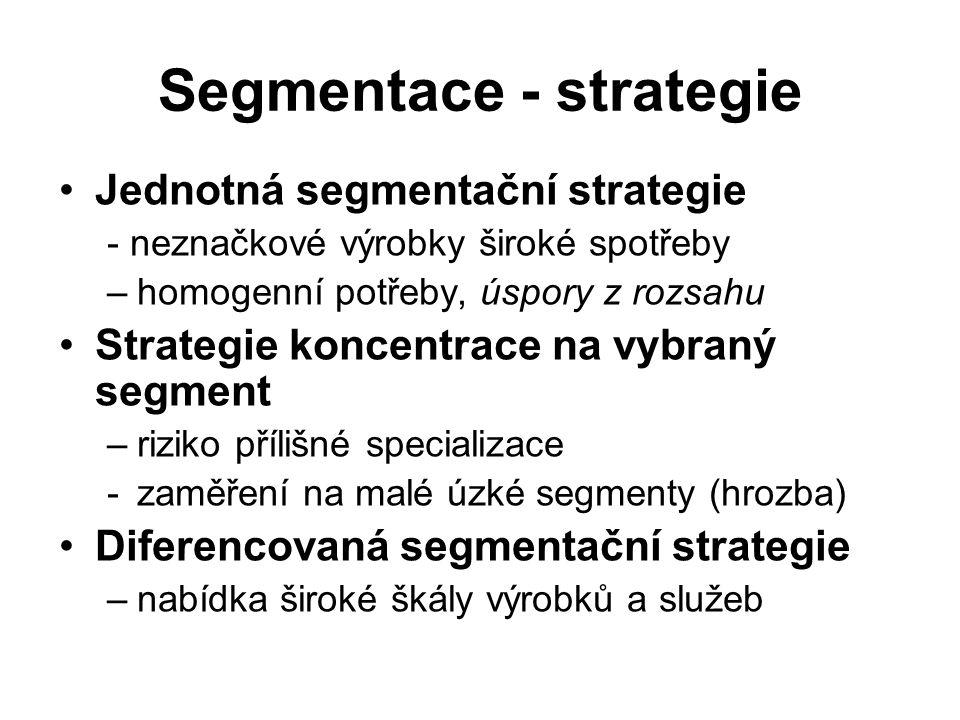 Segmentace - strategie Jednotná segmentační strategie - neznačkové výrobky široké spotřeby –homogenní potřeby, úspory z rozsahu Strategie koncentrace